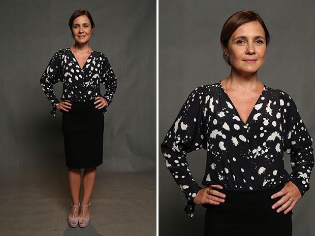 Clássico moderno! Adriana Esteves opta por saia lápis e blusa estampada. (Foto: Raphael Dias/Gshow)