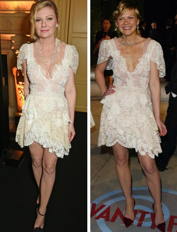 A atriz Kirsten Dunst com o mesmo vestido em 2017 e 2004 (Foto: Getty Images)