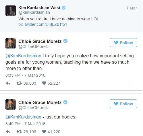Kim Kardashian e Chloe Grace Moretz trocam farpas na web (Foto: Twitter / Reprodução)