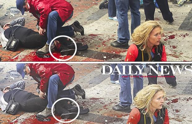 Imagem original e a foto publicada na capa do Daily News desta terça geram comentários sobre manipulação de imagem após o ataque na Maratona de Boston (Foto: John Tlumacki/The Boston Globe via Getty Images)