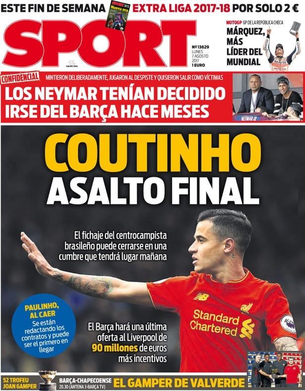 Capa do jornal Sport com Philippe Coutinho