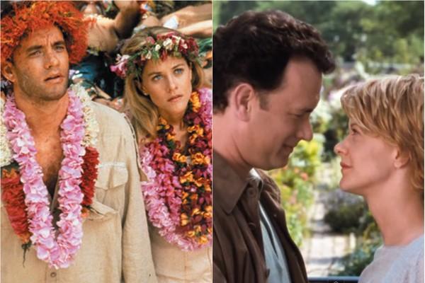 A parceria entre Meg Ryan e Tom Hanks é de longa data. A começar por 'Joe Contra o Vulcão' (à esq.), de 1990, eles ainda interpretaram um casal apaixonado em Sintonia de Amor (1993) e 'Mens@agem Pra Você' (à dir.) (1998) (Foto: Divulgação)