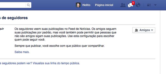 Desativando seguidores no Facebook (Foto: Reprodução/Helito Bijora)