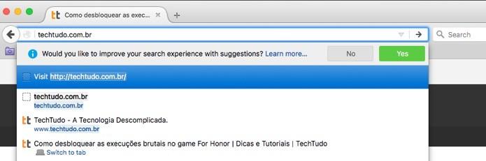 Sugestões do Firefox (Foto: Reprodução/André Sugai)