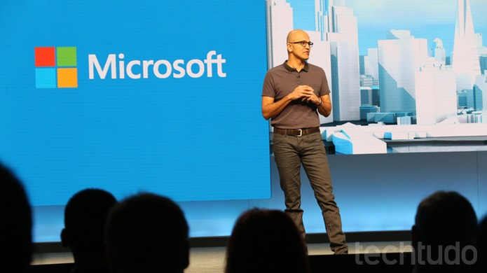 Satya Nadella, CEO da Microsoft, discursa na Build 2016 sobre Windows 10 e Cortana (Foto: Thássius Veloso / TechTudo)