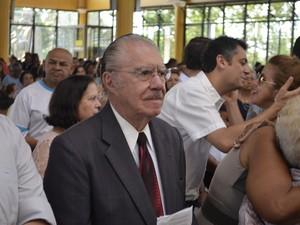 José Sarney acompanhou missa em Macapá nesta quarta-feira (19) (Foto: Abinoan Santiago/G1)