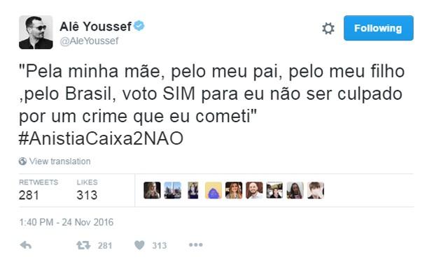 Ale Youssef comenta anistia a caixa 2 (Foto: Reprodução/Twitter/@AleYoussef)