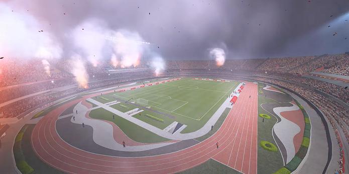 Estádio do São Paulo com bela atmosfera no PES (Foto: Reprodução/Thiago Barros)