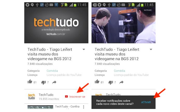 Seguindo um canal do Youtube através do aplicativo para Android (Foto: Reprodução/Marvin Costa)