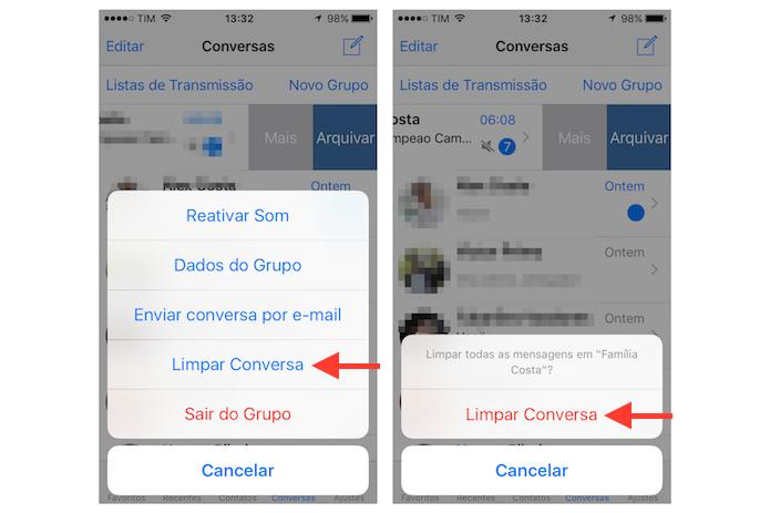 Limpando uma conversa do WhatsApp que ocupa muito espaço no armazenamento do iPhone (Foto: Reprodução/Marvin Costa)