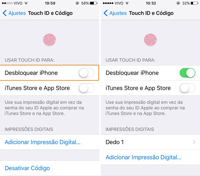 Cadastre a sua primeira digital para desbloquear o iPhone (Foto: Reprodução)