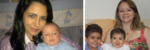 Pedro Paulo no colo da mamãe Simone e Thais Oliviera com os filhos, Lucas e Mariana (Foto: Arquivo Pessoal)