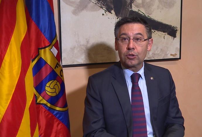 Josep Maria Bartomeu, presidente do Barcelona, em entrevista neste sábado (Foto: Ivan Raupp)