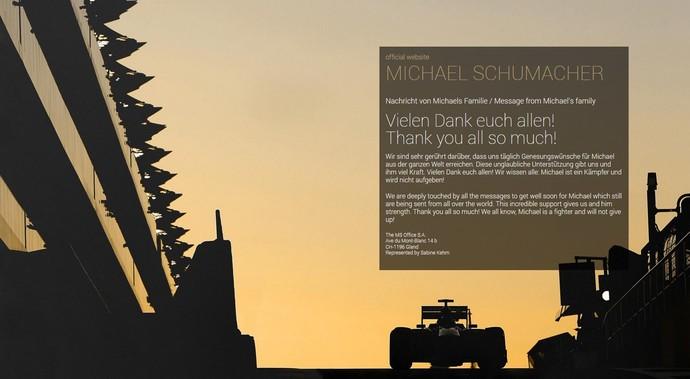 Mensagem da família de Michael Schumacher (Foto: Reprodução)
