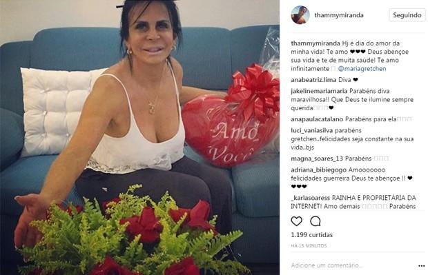 Thammy parabeniza a mãe, Gretchen (Foto: Reprodução/Instagram)
