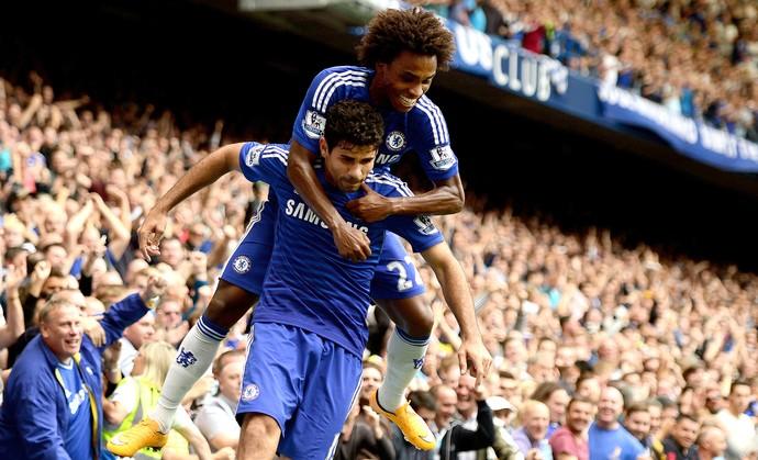 Diego Costa e Willian, Chelsea x Aston Villa (Foto: Getty Images)