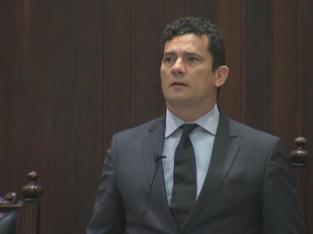 Moro falou por uma hora no Tribunal de Justiça do Paraná (TJ-PR) (Foto: Reprodução)