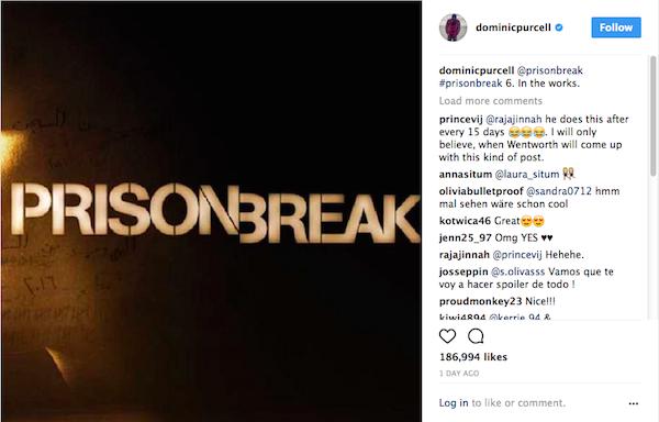 O post no qual o ator Dominic Purcell revela a produção de nova temporada de Prison Break (Foto: Instagram)
