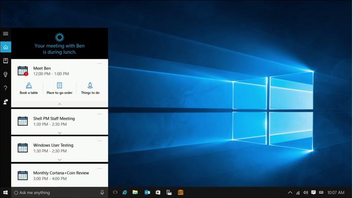 Cortana exibirá card com botões para ações rápidas no Windows 10 e Android (Foto: Reprodução/Elson de Souza)