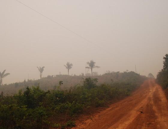 Fumaça de queimadas em Santarém, Pará (Foto: Erika Berenguer)