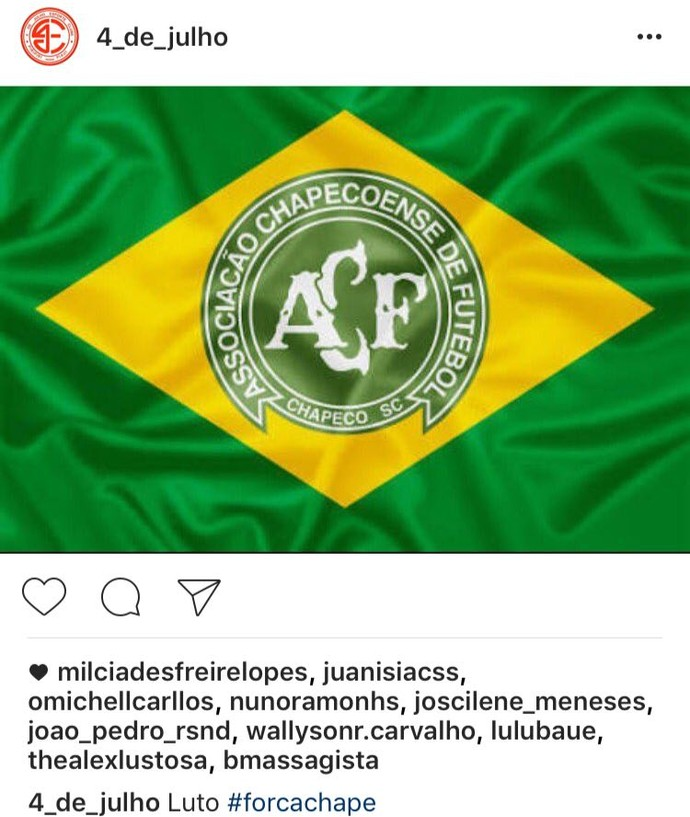 4 de Julho lamenta acidente Chapecoense (Foto: Reprodução/Instagram)