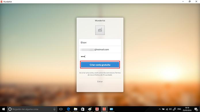 Wunderlist criará conta e enviará email para confirmação de email (Foto: Reprodução/Elson de Souza)