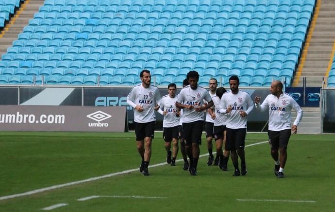 Treino do Corinthians na Arena Grêmio (Foto: Tomas Hammes Rodrigues)