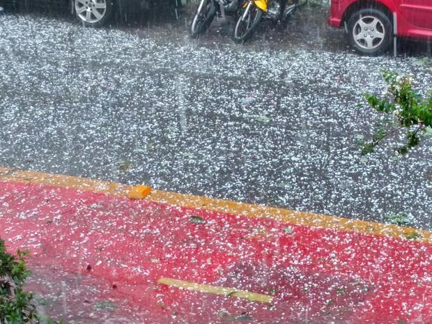 Chuva de granizo no bairro de Campos Elíseos, na região central de São Paulo (Foto: Patrícia Teixeira de Mattos/VC no G1)