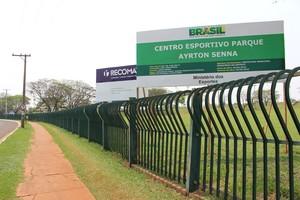 Obras no Parque Ayrton Senna, em Campo Grande (Foto: Hélder Rafael)