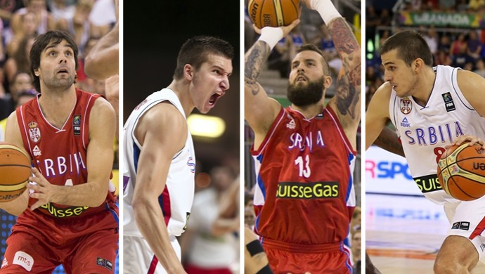 montagem basquete Servia (Foto: Globoesporte.com)