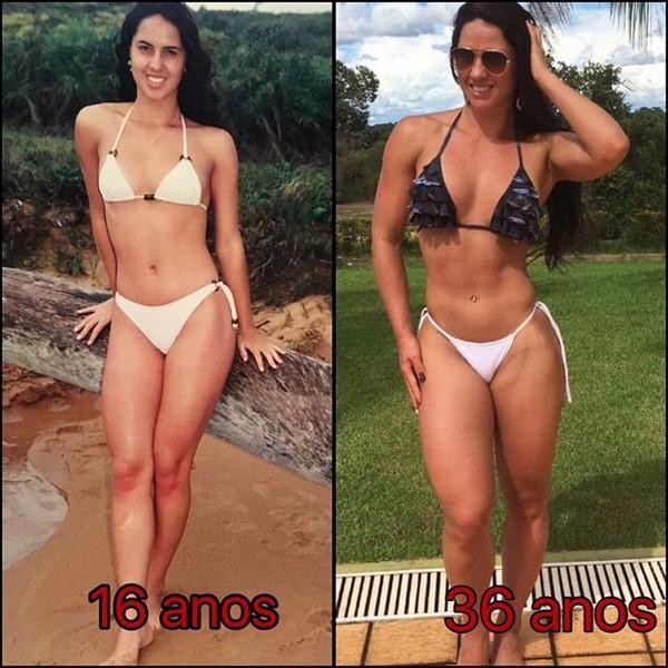 Graciele Lacerda compara seu corpo de 20 anos atrás com o de hoje