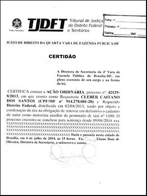 Certidão entregue por Santos para conseguir autorização de taxista (Foto: Reprodução)