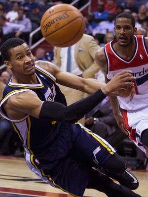 Basquete NBA - Washington Wizards x Utah Jazz, Trey Burke e Trevor Ariza (Foto: AP)