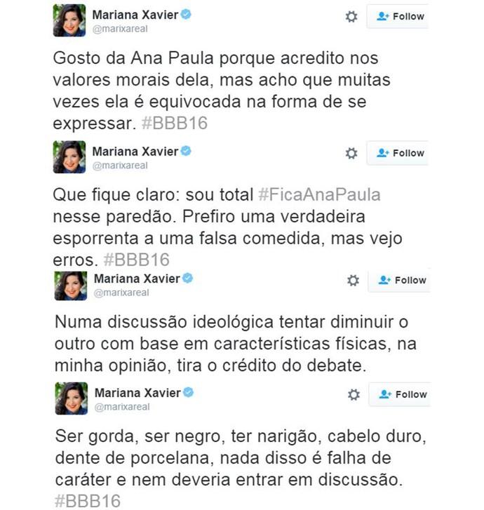 posts mariana xavier ana paula bbb16 (Foto: web)