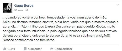 Último adeus de Guga Borba a Geraldo Roca (Foto: Reprodução Facebook)