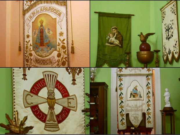 Mostra de estandartes religiosos em São João da Boa Vista é realizada até sábado (1) (Foto: Oscar Herculano Jr./EPTV)