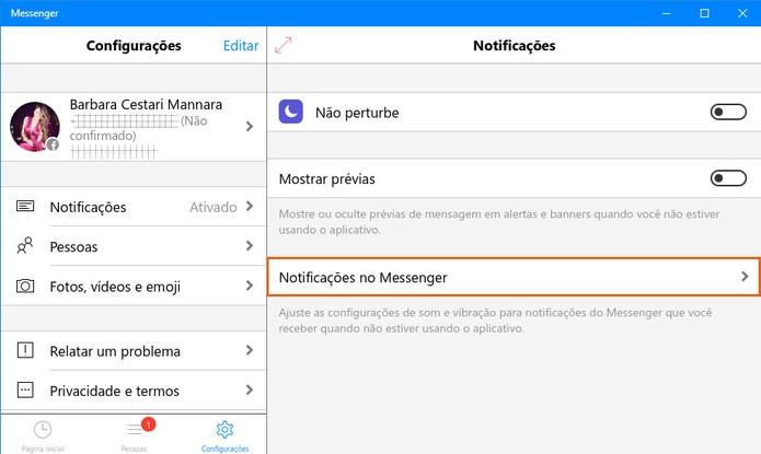 Veja mais opções para gerenciar as notificações no Messenger (Foto: Reprodução/Barbara Mannara)