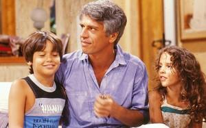 """Danton Mello, Nuno Leal Maia e Juliana Lucas em """"A Gata Comeu"""" (1985)"""