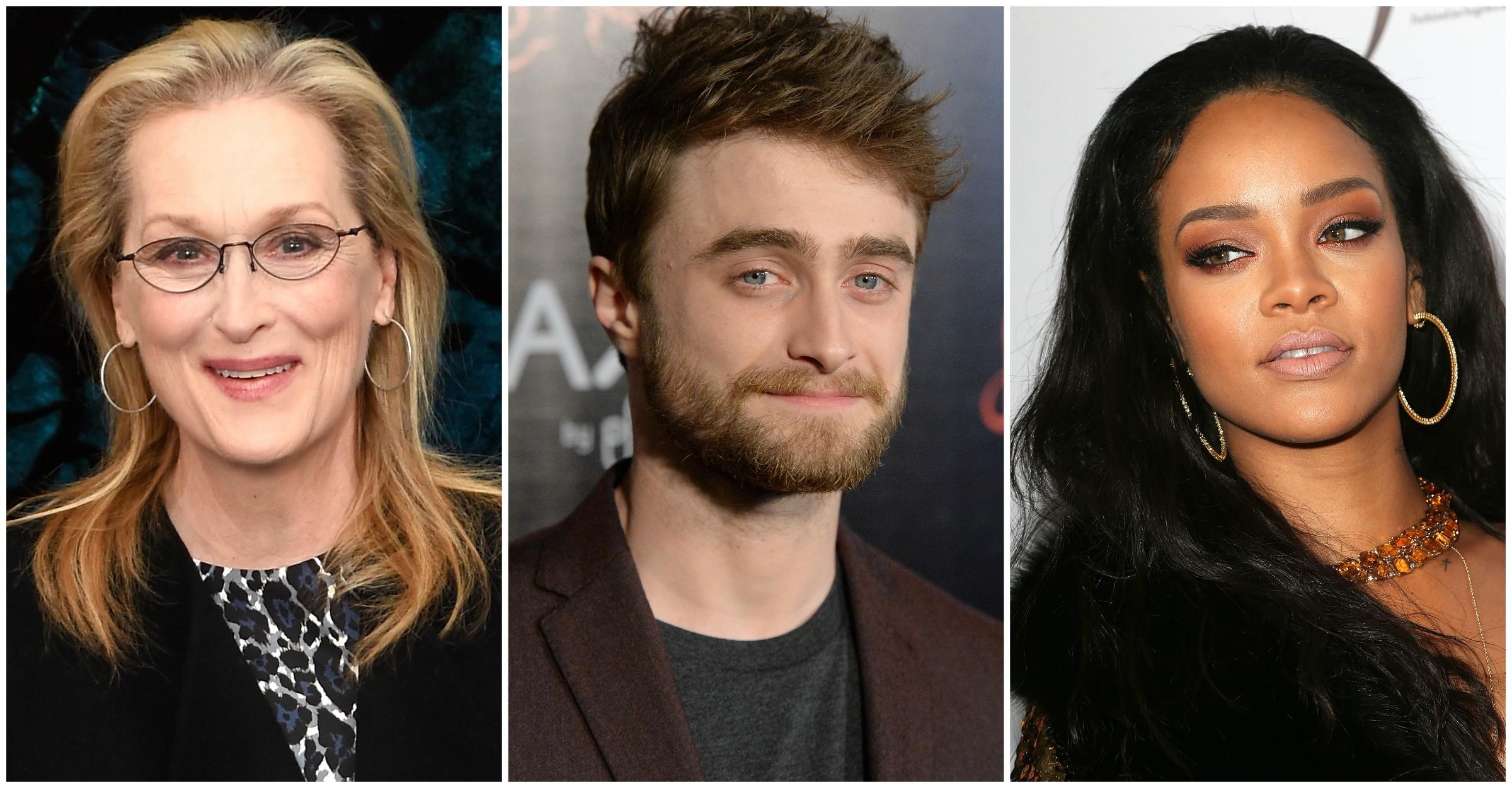 Meryl Streep, Daniel Radcliffe e Rihanna. (Foto: Getty Images)