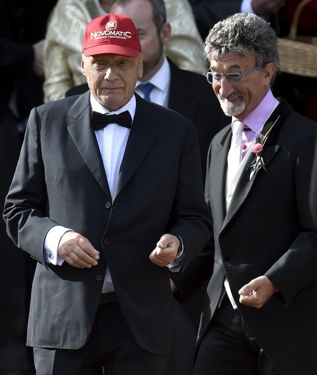 O piloto de Fórmula 1 Niki Lauda e o milinário Eddie Jordan (Foto: Reuters)