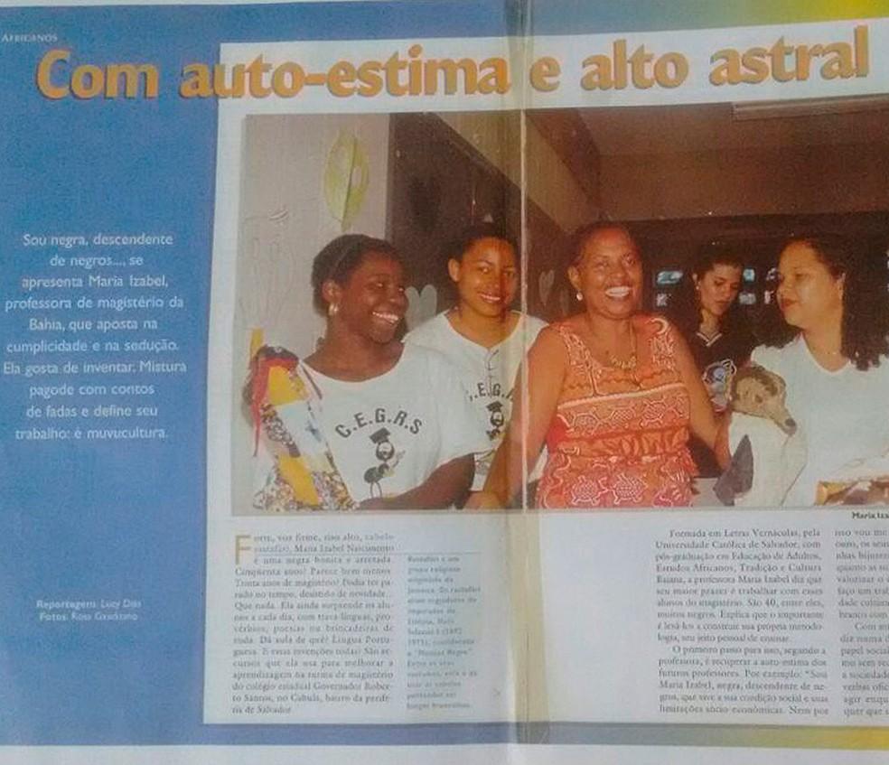 Trabalho de Maria Izabel foi divulgado na Revista TV Escola, em 2000 (Foto: Arquivo Pessoal)