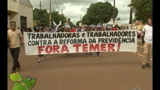 Trabalhadores protestam contra reforma da previdência no Pará