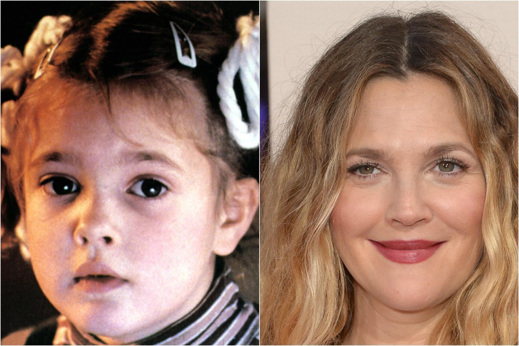 Drew Barrymore também teve um papel de destaque na infância: a Gertie de 'E.T. — O Extraterrestre' (1982), que fez quando tinha apenas 7 anos. Hoje ela tem 39 e está esperando sua terceira filha. (Foto: Divulgação e Getty Images)