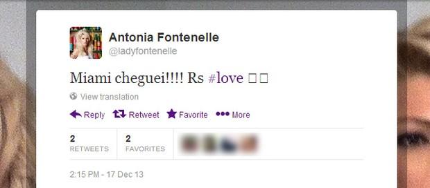 Antônia Fontenelle diz que chegou em Miami (Foto: Twitter / Reprodução)