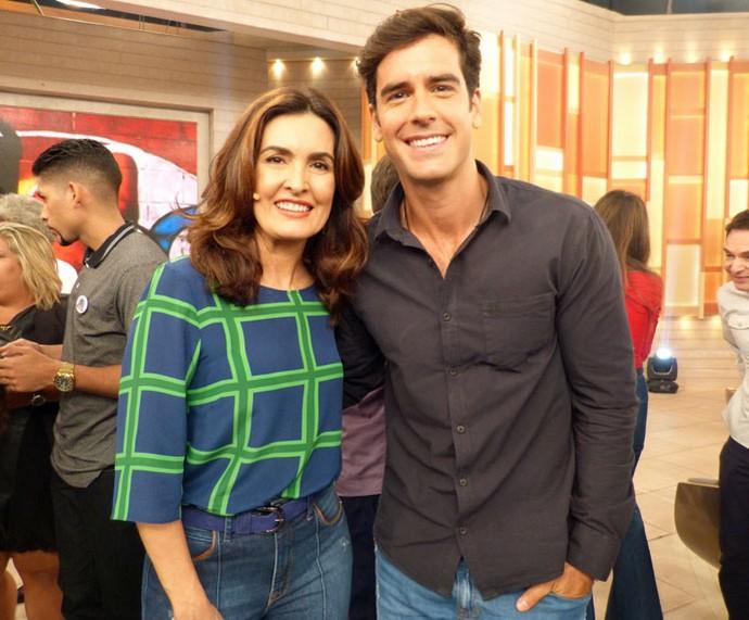 Fátima com o ator Marcos Pitombo (Foto: Carolina Morgado/Gshow)