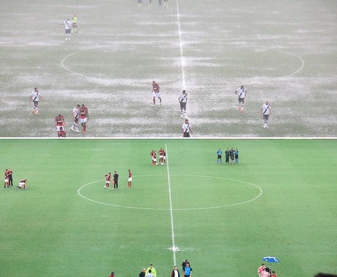 antes e depois do gramado Maracanã Flamengo x Vasco (Foto: Edgard Maciel)