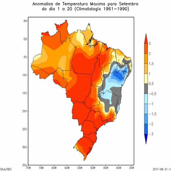 Mapa mostra as temperaturas de setembro de 2017 em comparação com a média histórica (Foto: Inmet)