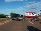 Motociclista fica ferido em colisão com picape em Campo Grande
