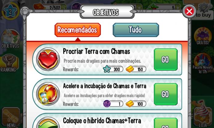 Dragon City: completar objetivos lhe garantirá ouro, comida e até gemas (Foto: Reprodução/Paulo Vasconcellos)