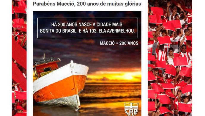 CRB homenagem 200 anos Maceió (Foto: Reprodução/site oficial)